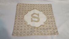 """New Tan Beige Target Threshold Pillow Cover Slipcover Monogram Letter S 18""""X18"""""""