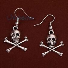 Cool Punk Tibetan Silver skull cross bone pendant Hook Earrings jewelry