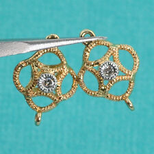14k Solid Yellow Gold Art Deco Style Diamond Connector PAIR 7.2mmx10.7mm