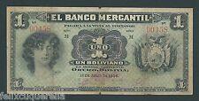 F.C. BOLIVIA , BANCO MERCANTIL , 1 BOLIVIANO 1906 , B/C ( FINE ) , SUCIO , S171a