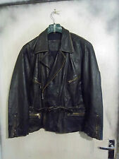 VINTAGE 70'S DISTRESSED HEAVY LEATHER MOTORCYCLE TOURING JACKET SIZE M