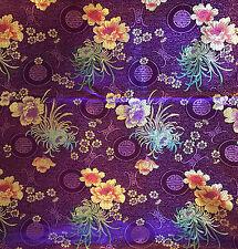 Faux Silk BROCADE Fabric PURPLE FLORAL MEDALLIONS 1/4 yard remnant