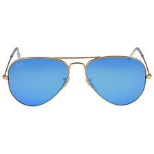 Ray-Ban Aviator Metal Gold Frame Crystal Blue Mirrored Lenses Large  Sungla