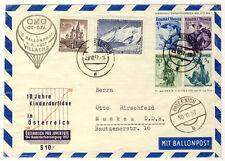 ÖSTERREICH - 18. BALLONPOST 1957 - GANZSACHENUMSCHLAG 45/30/20/5g in die DDR