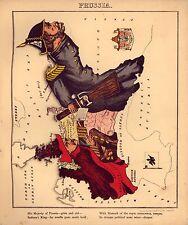 Prusia Antigüedad Antigua Vieja Color Repro Mapa Del Geográfico Atlas De 1869