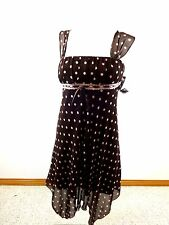 $70 NWT MY MICHELLE WOMENS BROWN PINK POLKA DOT CHIFFON MINI DRESS SIZE 7/8