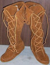 Minnetonka Knee Hi Hardsole Boots - Front Lace - Brown - Womens 9