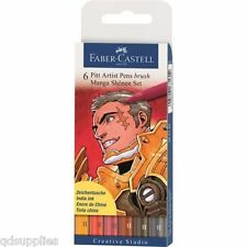 SET 6 FABER CASTELL PITT PENS MANGA SHONEN SET ARTIST DRAWING WATERPROOF INK