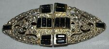 Vintage Duette Silver Studs & Black Rectangular Glass Stones In 2 Clips On 1 Pin