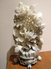 Chinese Hand Carved Soap Stone Flowers and Birds
