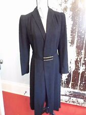 Must Have Vtg 1940s Rike~Kumler Black Wool Crepe & Silk Snug Dress Coat Jacket