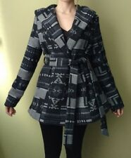 Kirra Aztec Print Jacket Coat Black Gray Winter Hooded Blanket Women's Size XL