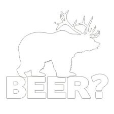 BEAR+DEER=BEER! Funny Hunting Joke Car Van Window Vinyl Decal Sticker Matt White