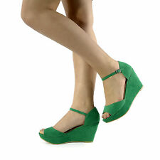 NEW LADIES HIGH HEEL PEEP TOE SHOES SANDAL CASUAL ANKLE STRAP WEDGES SIZE 3-8