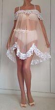 Vintage Peach Sheer Glass Nylon Nightie Night Dress / Gown size 12-16