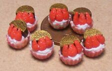 1:12 Scale 7 Strawberry Cup Cakes Dolls House Miniatures Bakery Cake Food pl9