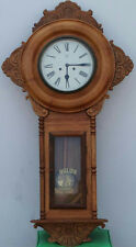 "50"" ANTIQUE VINTAGE REGULATOR A WALL CLOCK 30 DAY SOLID WOOD PENDULUM ORNATE"