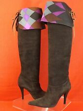 NWB EMILIO PUCCI BROWN SUEDE SATIN SIGNATURE CUFF OVER KNEE HEEL BOOTS 37