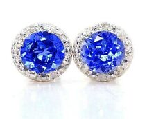 2 Carat Blue Sapphire & Diamond Round Stud Earrings .925 Sterling Silver