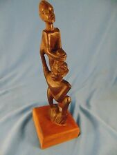"9"" African sculpture totem boy man hand carved heavy wood ethnic art piece dream"