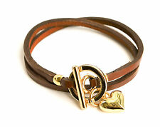 "Leather Wrap Bracelet with Gold Toggle and Heart Charm 14"" Black, Brown or Gold"