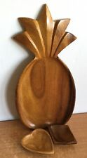 Leilani Monkey Pod Wood Pineapple Dish Handcrafted & 2 A Price Import Dishes Lot