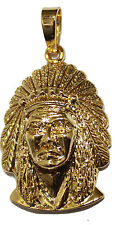 Native Indian Head Gold Plated Pendant - Red Indian Head Pendant 18k Gold Plated