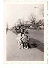 vintage snapshot dad cute children stuffed rabbit doll toy old cars 1950s family