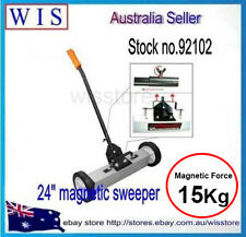 "24"" Magnetic Release Rolling Broom,Magnetic Handle Floor Sweeper,15Kg Load-92102"