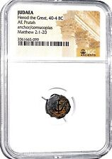 Herod The Great Bronze AE Prutah Coin,40 B.C.,NGC Certified,Excellent Condition