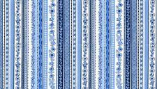 Makower 100% cotton fabric Patchwork Quilting FQ Oriental Blue Floral Stripe