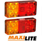 Maxilite LED Rectangle Boat & Trailer Light Set Stop Tail License Lamp 12V