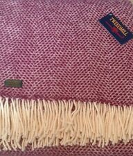 TWEEDMILL Beehive Cherry And Cream Pure New Wool Blanket / Throw 🇬🇧 Made In UK