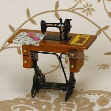 12th Dolls House Miniature Metal Sewing Machine+Wooden Table w/ Cloth Thread