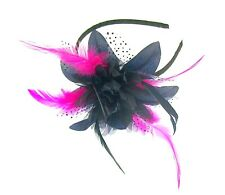 Navy blue and  flower cerise pink fascinator headband