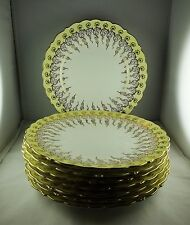Eight Coalport China Z950 Dinner Plates - Yellow Verge Gold Cascading Leaves