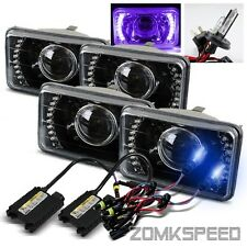 (2 Sets) 4x6 Purple LED Black Housing Projector Headlights/10000K H4-2 HID Kit