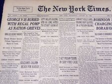 1936 JAN 29 NEW YORK TIMES - GEORGE V, IS BURIED WITH REGAL POMP - NT 1853