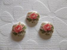 6 Pink Rose on White Cameos Vintage Decal Picture Stones 10mm Glass Cabochons