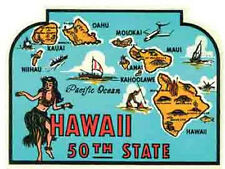 Hawaii  50th State   Vintage-1950's Style   Travel Decal/Label/Sticker