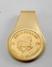 Vintage KRUGERRAND 1978 FYNGOUD 1oz Fine Goldtone Stamped Money Clip NOS