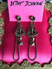 Betsey Johnson Vintage Bronze Heart Arrow Valentine Gray Crystal Cupid Earrings