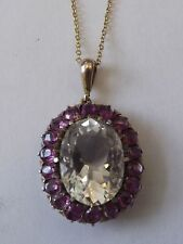 Antique Pink Topaz and Pink Sapphires Cluster Pendant  (ant16)