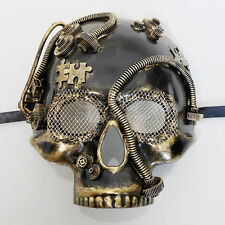 Steampunk Skull Costume Theater Masquerade Mask for Men - Metallic Gold