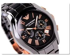 NEW MENS CERAMIC BLACK GOLD MENS CHRONOGRAPH WATCH EMPORIO ARMANI AR1410