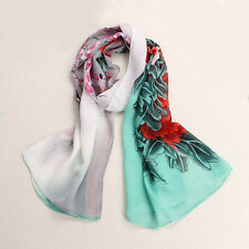 Chiffon Long Soft Neck Scarf Shawl Scarves Stole Wraps Green Gift for lady girl