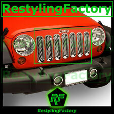07-16 Jeep JK Wrangler Chrome Trim 7pcs Grille Cover Insert Mesh Grill Shell