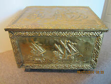 LG BRASS CLAD, WOOD, TALL SHIP MOTIF COAL BOX