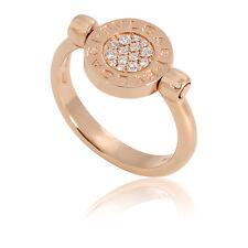 Bvlgari Bvlgari 18K Pink Gold Diamond Mother of Pearl Flip Ring - Size 7