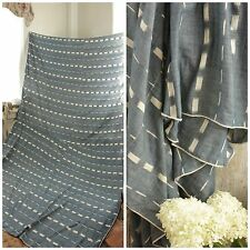 Antique Ikat fabric French flamme 18th century indigo  BLUE  panel drape LARGE